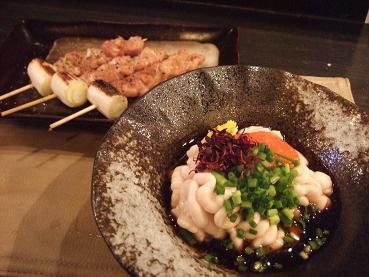真鱈の白子もみじポン酢と鶏せせり串焼き