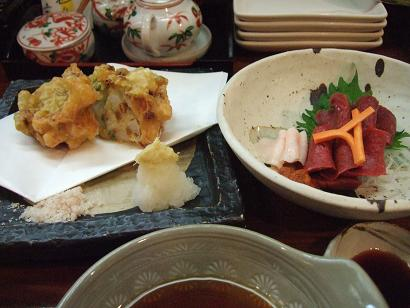会津の馬刺・オクラと山芋の納豆かき揚げ