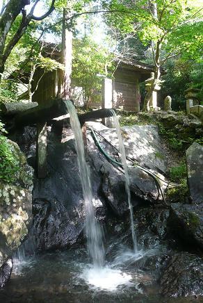 山から流れ込む2本の沢水