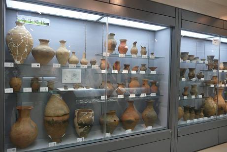弥生時代の石器・土器の展示