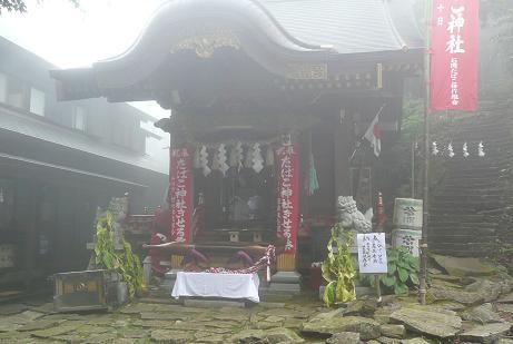 キリの霞む加波山神社拝殿