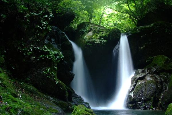 明神滝  右の光が強くって(w_-; ウゥ・・