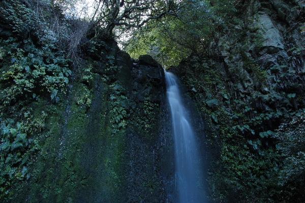 横の壁がとっても神秘的で滝を引き立てていました