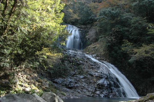 下の段が八塩滝・上の段が八汐滝