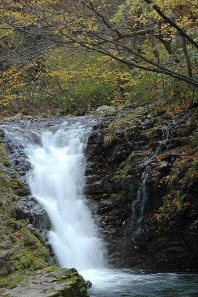 小さな滝ですが水の音は豪快でした(夫婦滝と教えていただきました)
