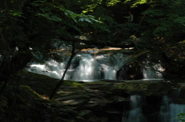 木漏れ日の中の上段の滝