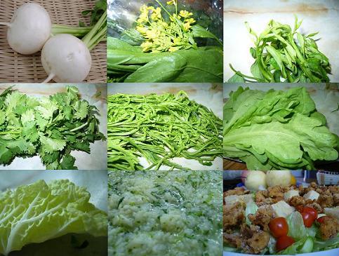蕪・菜の花・サダオコリアンダー・チャオム・菊菜白菜・お粥・あまりに寂しかったのでこんなん作りました。七草の意に反してますが、兎に角、作ってしまいました、食べてしまいました。