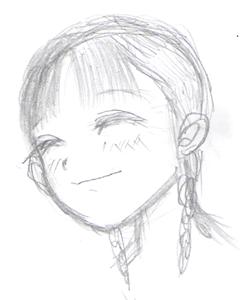 三つ編笑顔