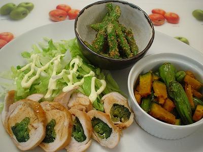 鶏肉の小松菜ロール