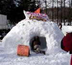 幼稚園冬の運動会タコヤキ雪像