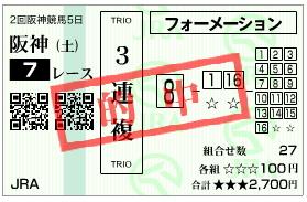 阪神7R 三連複_070407