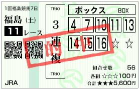 福島牝馬S 三連複
