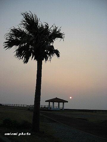 万立浜での夕日