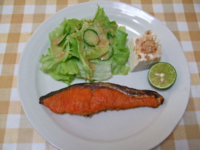 焼き魚とすだち