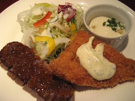觀海 カットステーキと魚のフライ