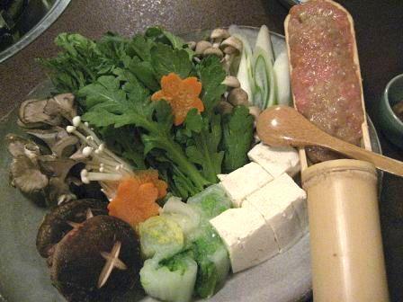 地鶏つくね鍋の材料