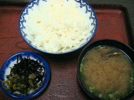 ご飯と貝汁と漬物