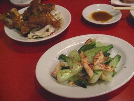 青梗菜炒めとカリカリ豚足