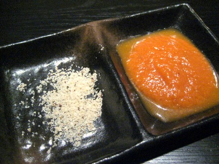 ハーブ塩とトマトソース