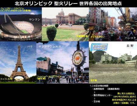 北京オリンピック聖火リレー世界各国の出発地点 日本は空き地