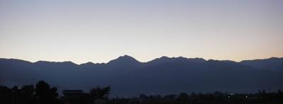 夕暮れの常念山脈
