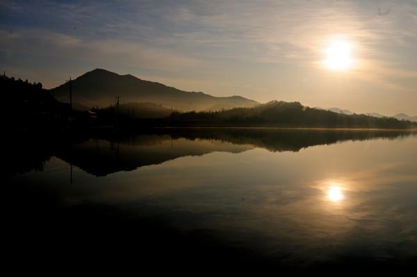 長沢の池・物見山夕日 001