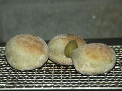 ヨモギ餅-ストーブ2