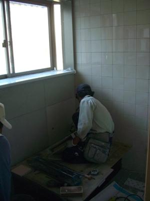 K籐邸浴室タイル張り