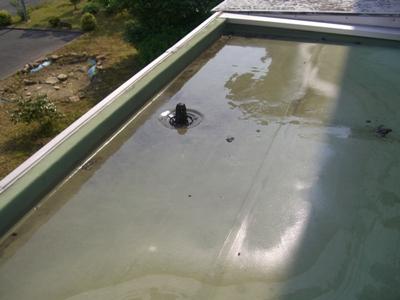 渡り廊下の屋根~水たまり