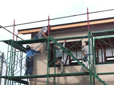 F邸新築工事~外装板張り中