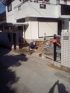 T邸 外構工事、車庫基礎工事